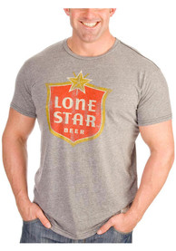 Original Retro Lone Star Beer Grey Logo Short Sleeve T Shirt