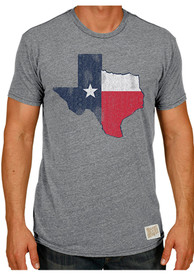 Original Retro Brand Texas Grey Flag State Shape Short Sleeve T Shirt
