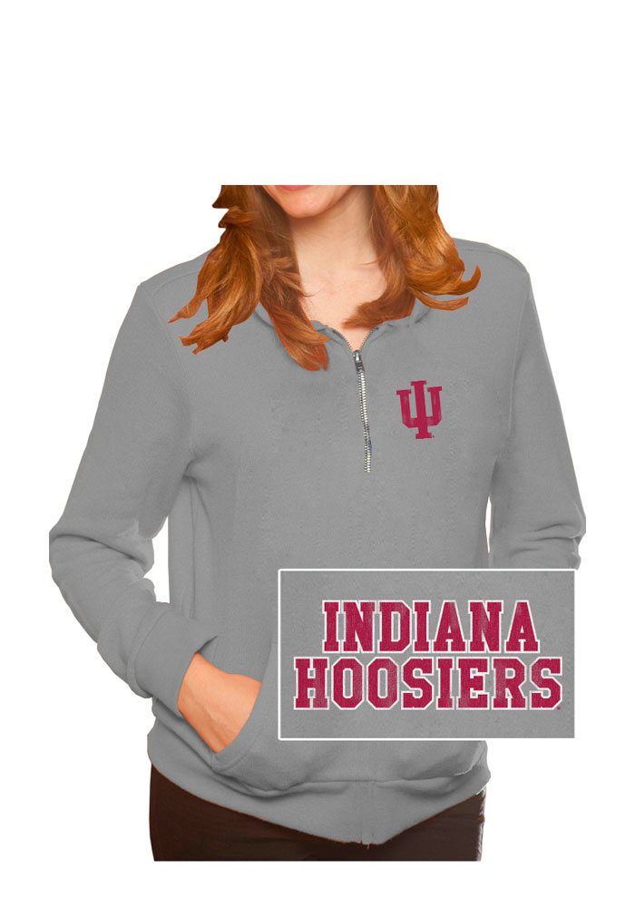 Original Retro Brand Indiana Hoosiers Juniors Grey Tri-Blend Fleece 1/4 Zip Pullover - Image 1