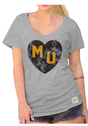 Original Retro Brand Mizzou Tigers Womens Heart Tee Grey Scoop T-Shirt