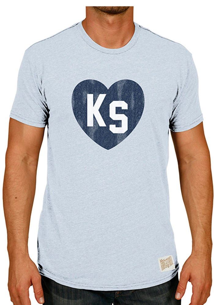 Original Retro Brand Kansas Mens Light Blue Heart Tee Short Sleeve Fashion T Shirt - Image 1