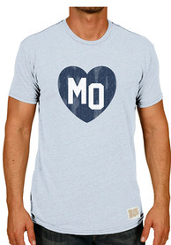 Original Retro Brand Missouri Light Blue Heart Initials Short Sleeve T Shirt