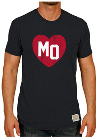 Original Retro Brand Missouri Black Heart Initials Short Sleeve T Shirt