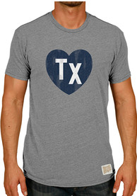 Original Retro Brand Texas Grey Heart Initials Short Sleeve T Shirt