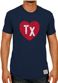Original Retro Brand Texas Navy Blue Heart Initials Short Sleeve T Shirt