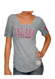 Original Retro Brand Indiana Hoosiers Juniors Streaky Grey Scoop T-Shirt