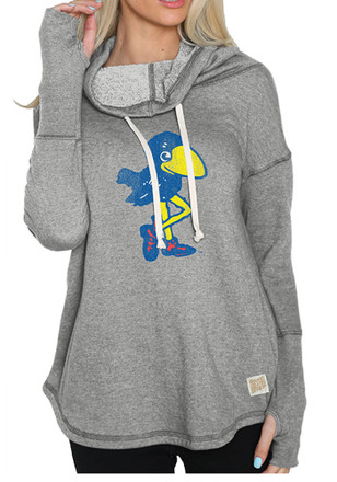 Original Retro Brand Kansas Jayhawks Womens Grey Funnel Neck Hoodie