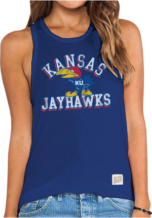 Original Retro Brand Kansas Jayhawks Womens Blue Lauren Tank Top