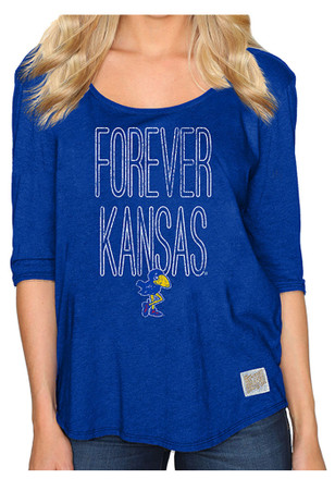 Original Retro Brand Kansas Jayhawks Womens Boyfriend Scoop Neck Tee