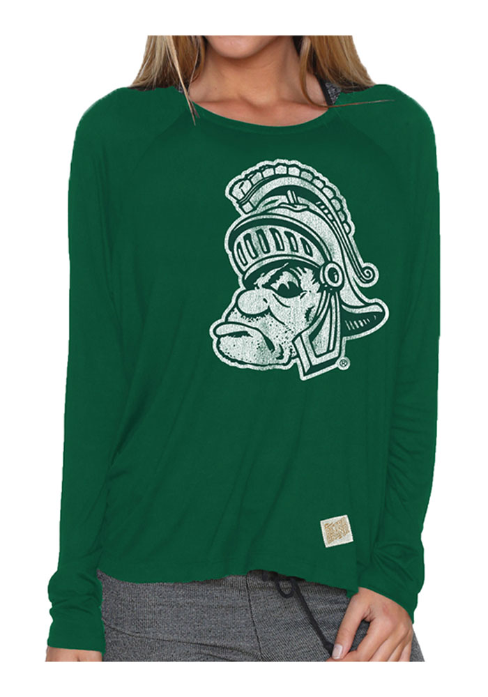 Michigan State Spartans Juniors Green Split Back Long Sleeve Crew T-Shirt - Image 1