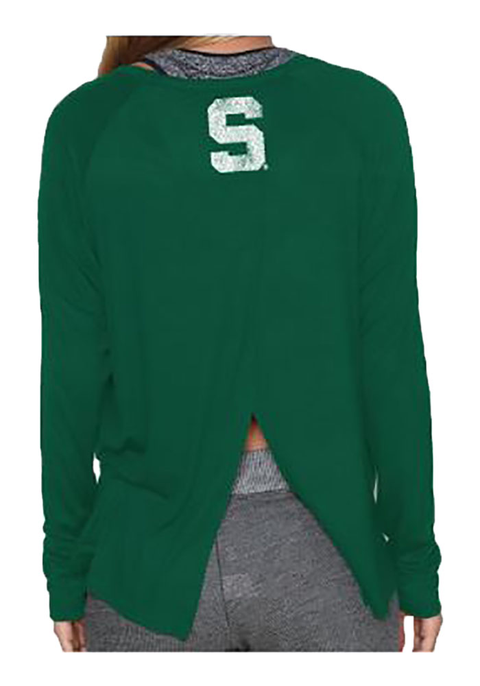Michigan State Spartans Juniors Green Split Back Long Sleeve Crew T-Shirt - Image 2