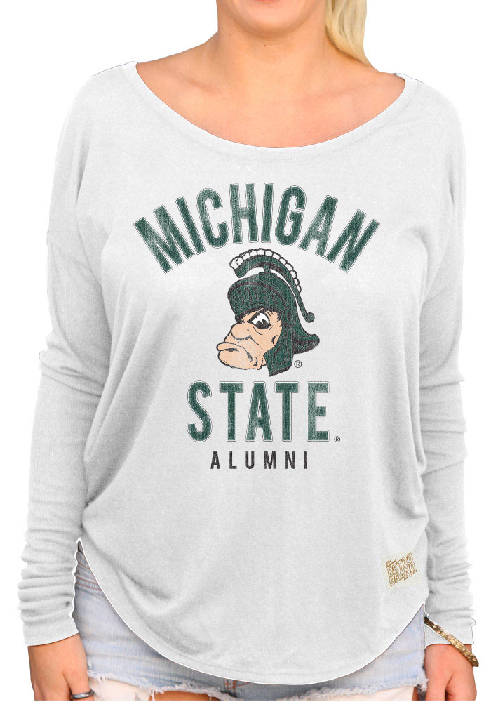 Original Retro Brand MSU Womens White Rib Long Sleeve Scoop Neck - Image 1