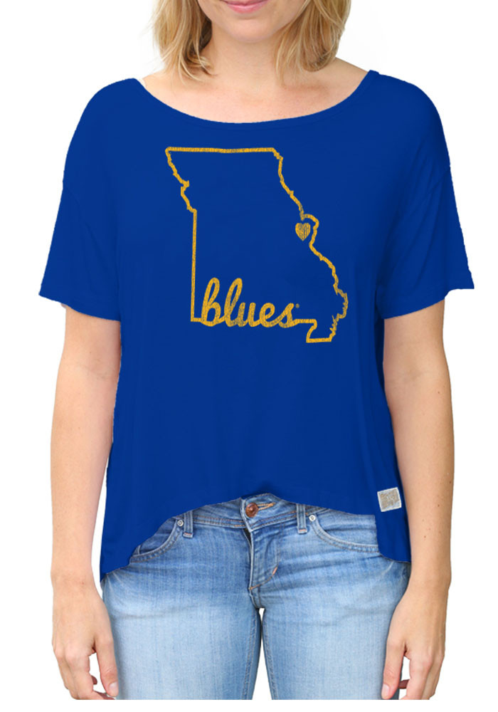 Original Retro Brand St Louis Blues Womens Blue Relaxed State Scoop T-Shirt - Image 1