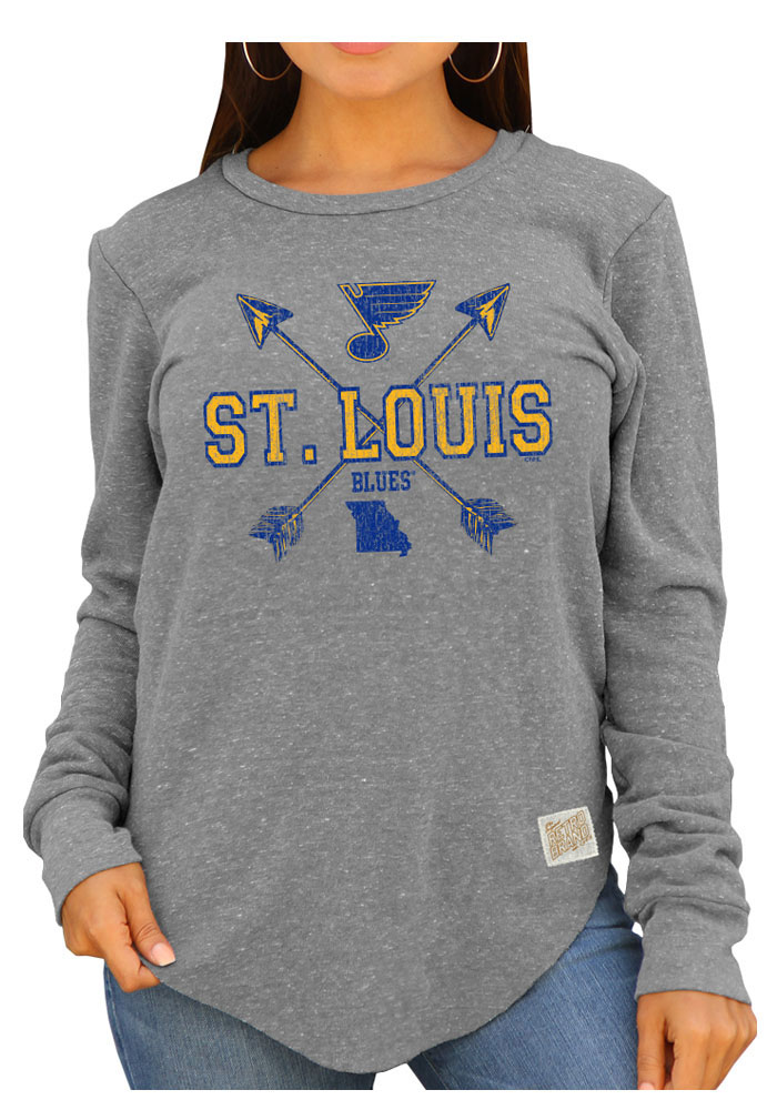 Original Retro Brand St Louis Blues Womens Grey Cross Arrow Crew Sweatshirt - Image 1