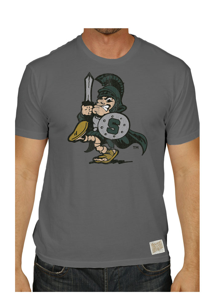 Original Retro Brand Michigan State Spartans Mens Grey Spartan Short Sleeve Fashion T Shirt - Image 1