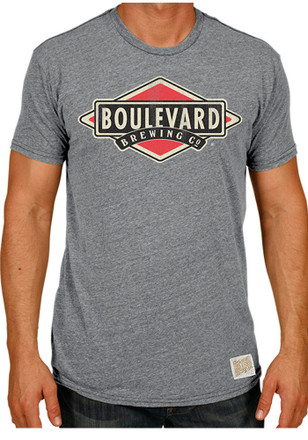 Original Retro Brand Mens Boulevard Brewing Gray Logo T-Shirt