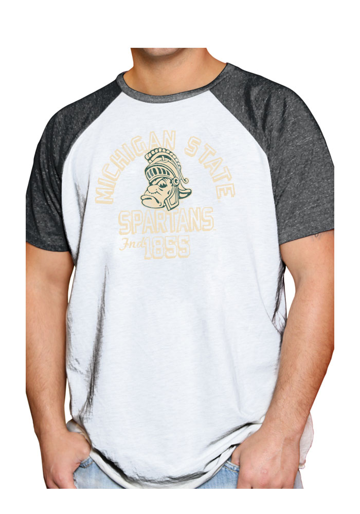 Original Retro Brand Michigan State Spartans Grey Number 1 Short Sleeve Fashion T Shirt - Image 1