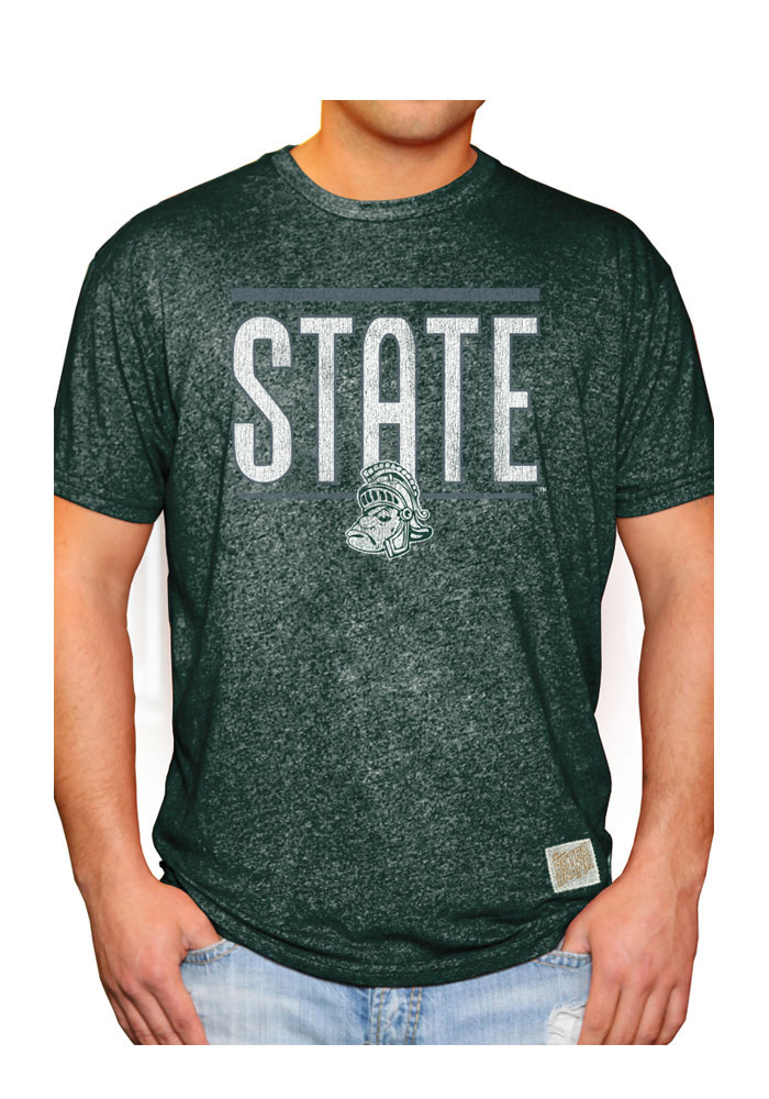 Original Retro Brand Michigan State Spartans Green Mens Bold State Tee - Image 1
