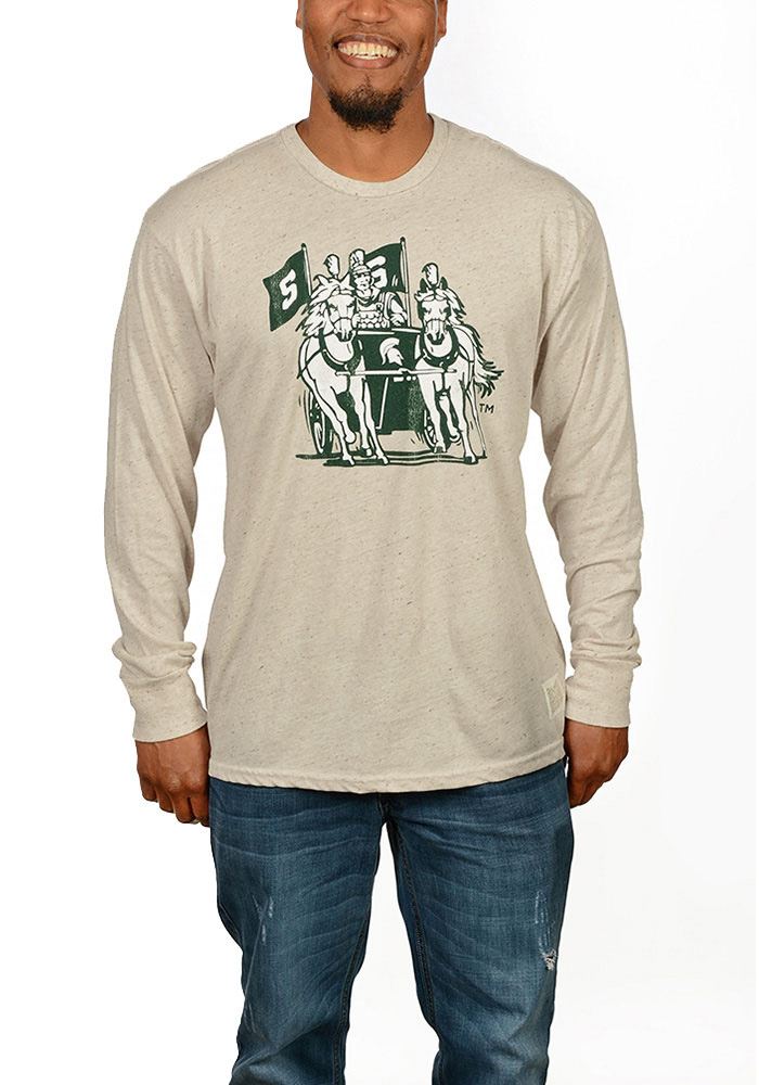 Original Retro Brand Michigan State Spartans Mens Brown Spartan Chariot Long Sleeve Tee, Oatmeal, 50 POLY/38 COT/12 RAY, Size L