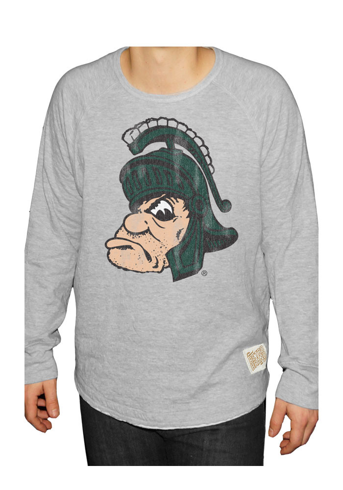Original Retro Brand Michigan State Spartans Mens Grey Gruff Long Sleeve Fashion Sweatshirt - Image 1