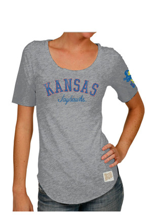 Original Retro Brand KU Jayhawks Womens Streaky Grey Scoop T-Shirt