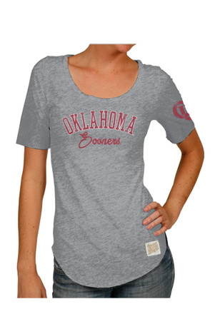 Original Retro Brand Oklahoma Womens Streaky Grey Scoop T-Shirt
