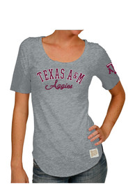 Original Retro Brand Texas A&M Aggies Womens screen print team graphic Grey Scoop T-Shirt