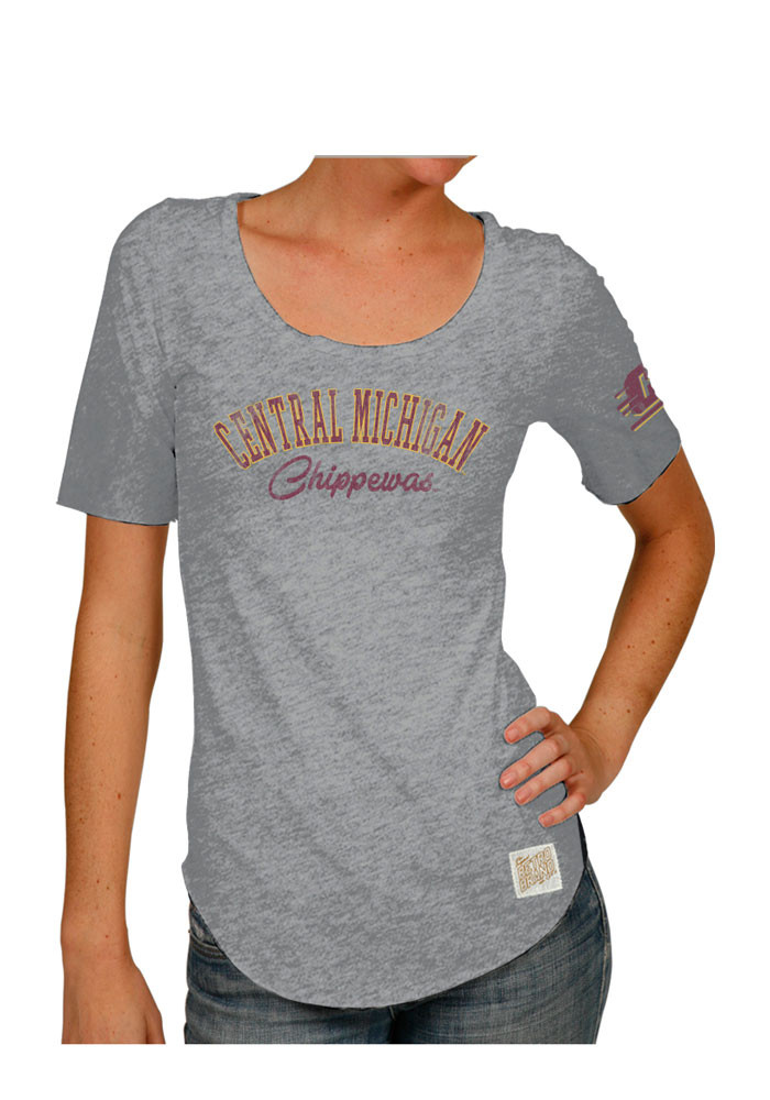 Original Retro Brand Central Michigan Chippewas Womens Grey Streaky Scoop T-Shirt - Image 1