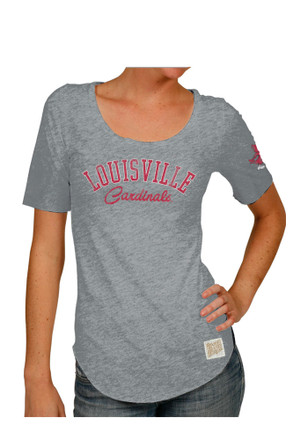 Original Retro Brand Louisville Cardinals Womens Streaky Grey Scoop T-Shirt