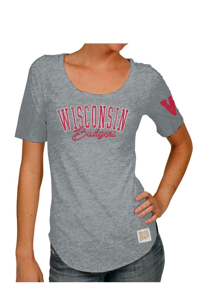 Original Retro Brand Wisconsin Badgers Womens Grey Streaky Scoop T-Shirt - Image 1