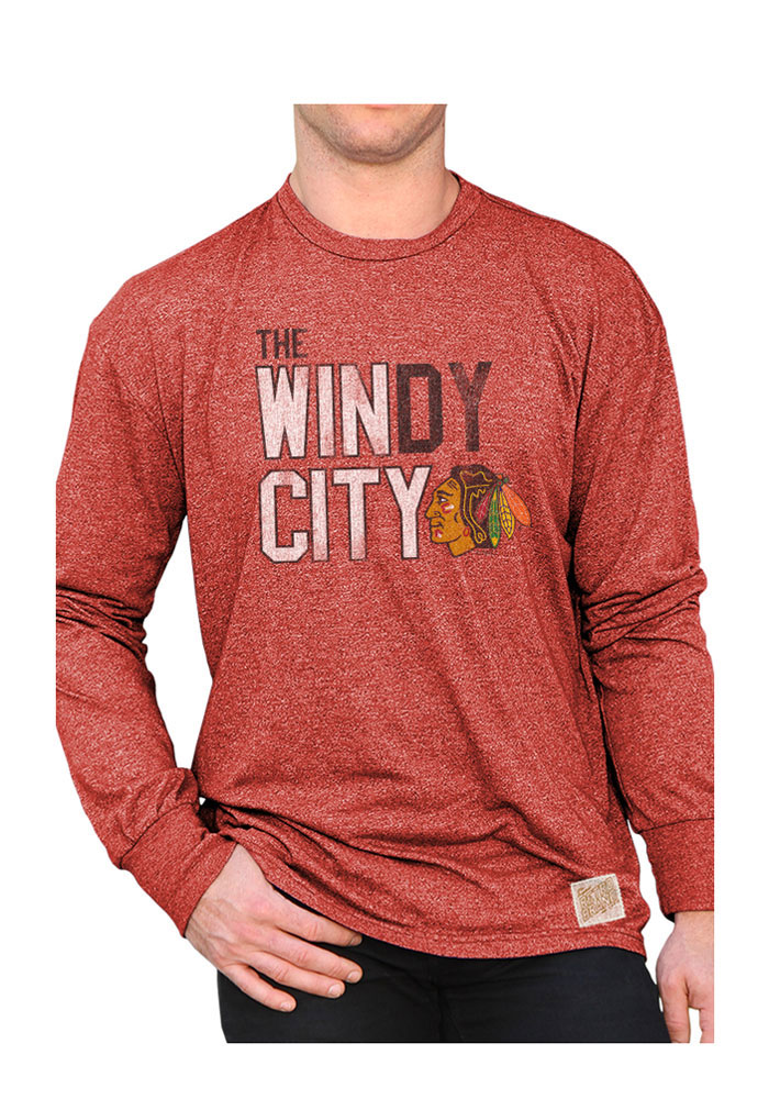Original Retro Brand Chicago Blackhawks Red Mock Twist Long Sleeve Fashion T Shirt - Image 1