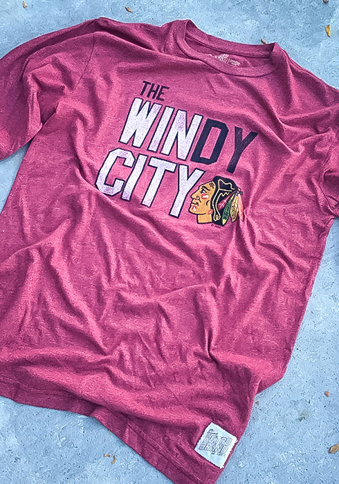 Original Retro Brand Chicago Blackhawks Red Mock Twist Long Sleeve Fashion T Shirt - Image 2