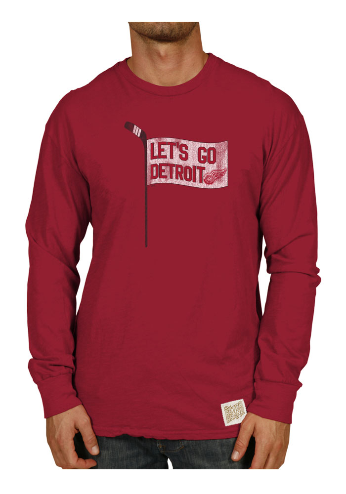 Original Retro Brand Detroit Red Wings Red Slub Long Sleeve Fashion T Shirt - Image 1