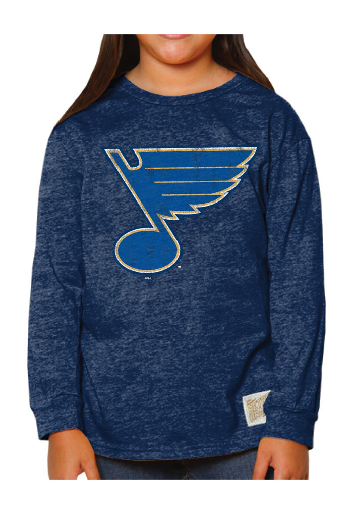 Original Retro Brand St Louis Blues Girls Navy Blue Primary Logo Long Sleeve T-shirt - Image 1