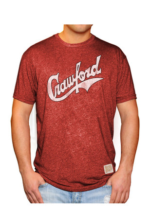 Original Retro Brand Pittsburgh Crawfords Mens Red Mock Twist Fashion Tee