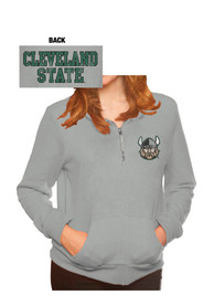Cleveland State Vikings Womens Tri-Blend Fleece Grey 1/4 Zip Pullover