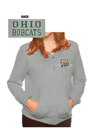 Ohio Bobcats Womens Tri-Blend Fleece Grey 1/4 Zip Pullover
