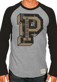 Original Retro Brand Purdue Boilermakers Grey Raglan Fashion Tee