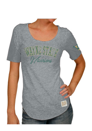 Original Retro Brand Wayne State Warriors Womens Streaky Grey Scoop T-Shirt