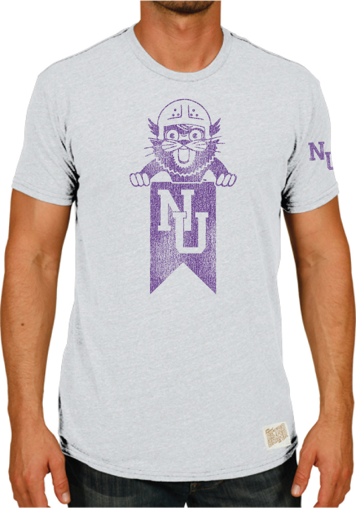 ae75839a2 Original Retro Brand Northwestern Wildcats Grey TriBlend Short Sleeve  Fashion T Shirt - Image 1