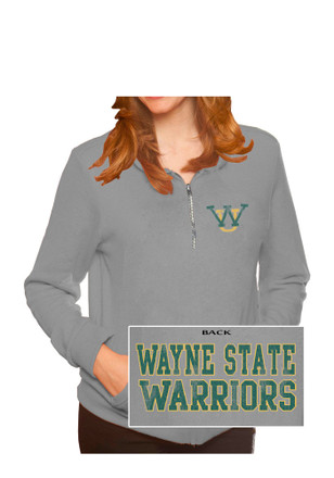 Original Retro Brand Wayne State Warriors Womens Tri-Blend Grey 1/4 Zip Pullover