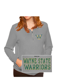 Wayne State Warriors Womens Tri-Blend Grey 1/4 Zip Pullover