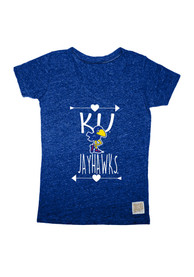 Original Retro Brand Kansas Jayhawks Girls Blue Heart Arrow T-Shirt