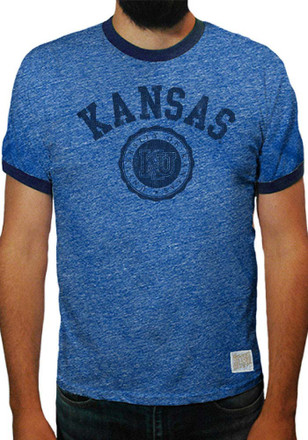 Original Retro Brand Kansas Jayhawks Mens Blue Alfred Fashion Tee