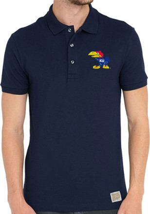 Original Retro Brand Kansas Jayhawks Mens Navy Blue Chip Short Sleeve Polo Shirt