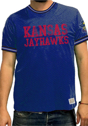 Original Retro Brand Kansas Jayhawks Mens Navy Blue Rocky Fashion Tee