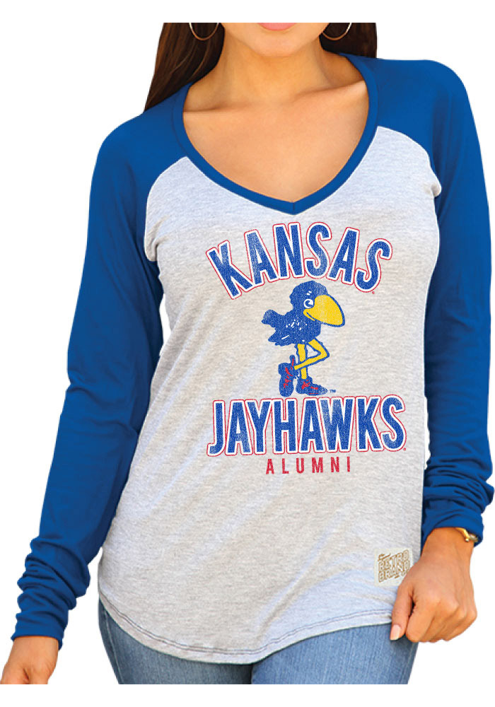 Original Retro Brand Kansas Jayhawks Womens Blue Erica T-Shirt
