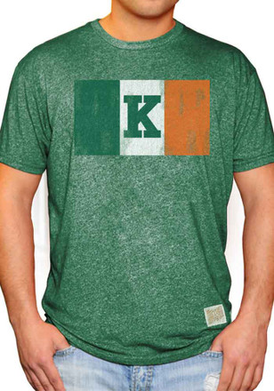 Original Retro Brand Kansas Jayhawks Mens Green Rally Flag Fashion Tee