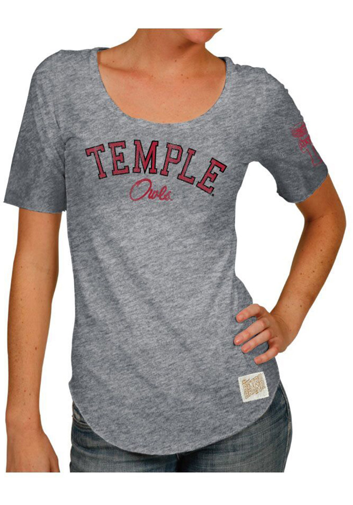 Original Retro Brand Temple Owls Womens Grey Streaky Scoop T-Shirt - Image 1