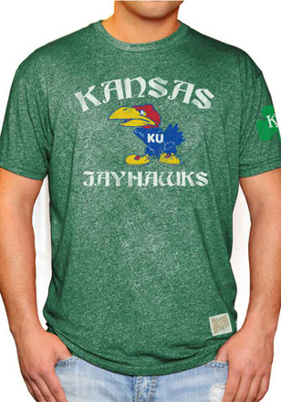 Original Retro Brand Kansas Jayhawks Mens Green St Pats 41 Fashion Tee